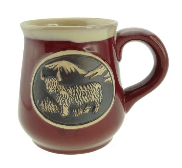 Stoneware Mug with Highland Cow - Red