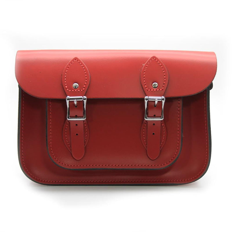 11 inch Real Leather Buckle Satchel Bag - Red