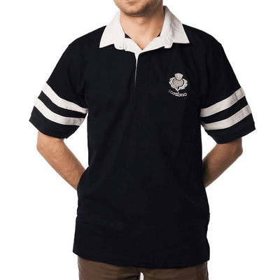 Men's Rugby Shirt - Navy 2 Stripe - Short Sleeve