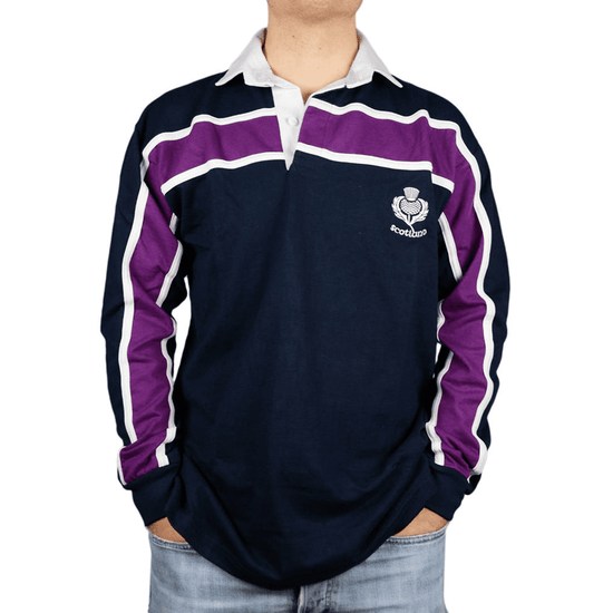 Men's Rugby Shirt - Navy Purple Stripe - Long Sleeve