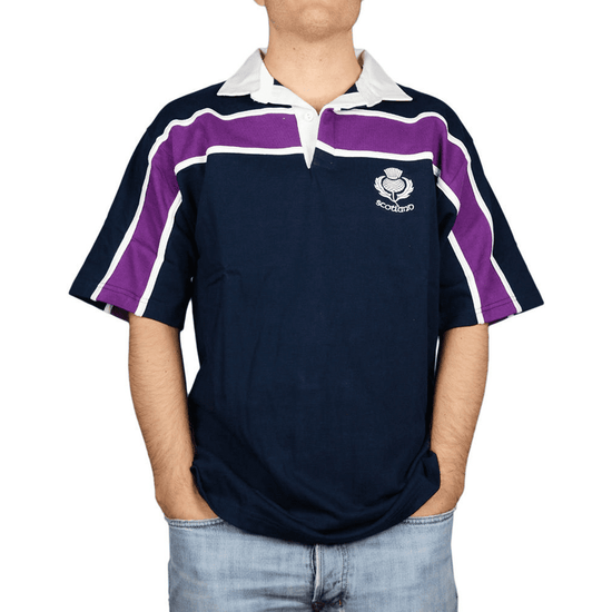 Men's Rugby Shirt - Navy Purple Stripe - Short Sleeve