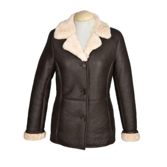 New Sheepskin Aviator Ladies Leather Coat - Rhianna - Chocolate
