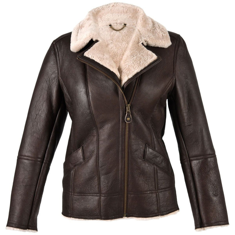 New Sheepskin Aviator Ladies Leather Coat - Mepal - Brown Nappa