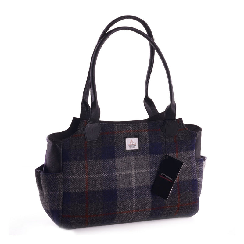 Authentic Scottish Harris Tweed - Day Bag - Blue Check