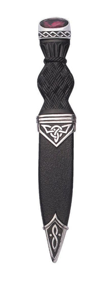 Polished Pewter Celtic Sgian Dubh with Stone Hilt