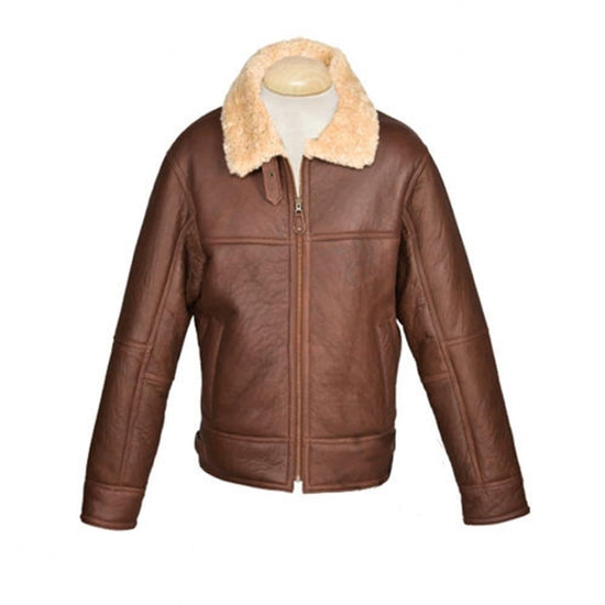 New Sheepskin Aviator Style Men's Leather Coat - Shaun - Cognac