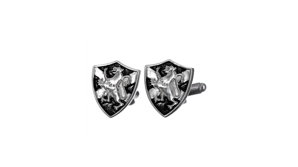 Lion Rampant and Saltire Shield Cufflinks - Chrome Finish