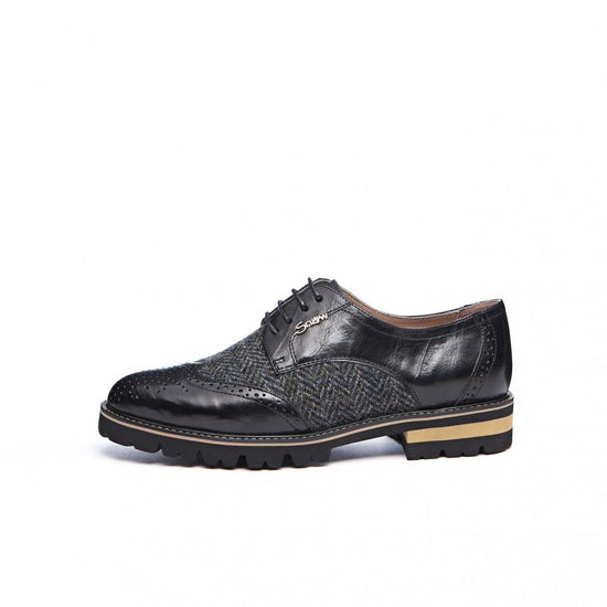 Ladies Harris Tweed Brogues by Snow Paw - Black