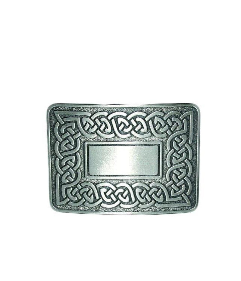 Celtic Link Belt Buckle - Chrome/Antique Finish
