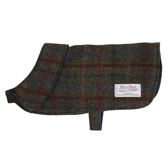 Harris Tweed Dog Coat - Brown/Red/Blue Check