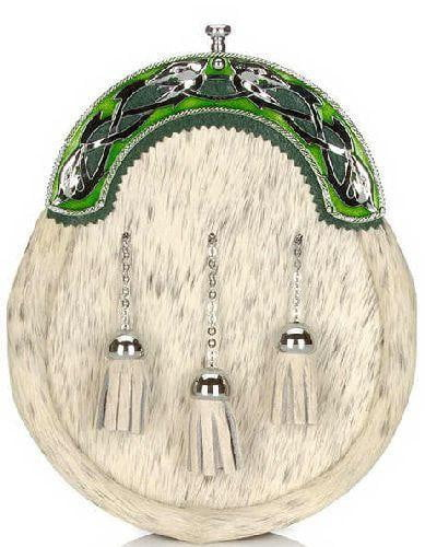 Serpent Dress Sporran With Chrome & Green Cantle – Natural
