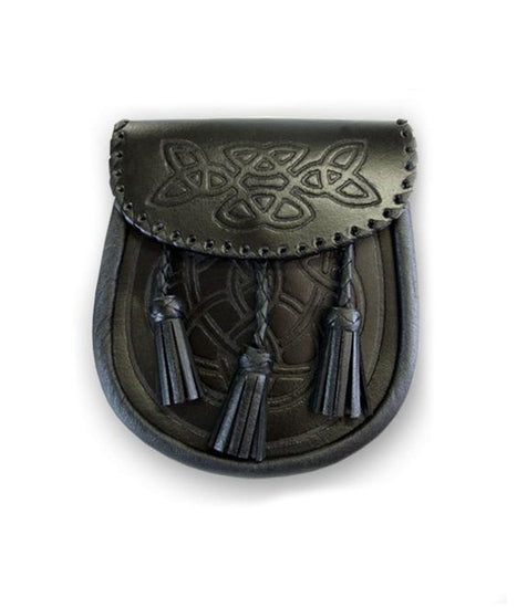 Black Celtic Embossed Leather Sporran