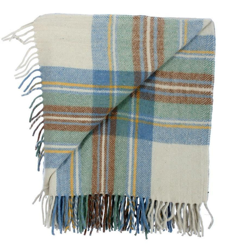 Wool Tartan Rug - Stewart Muted Blue