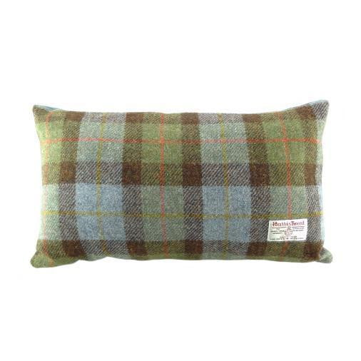 Harris Tweed  Rectangle Cushion - Tartan/Blue Back