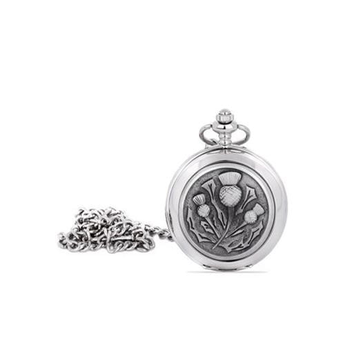 Quartz Full Hunter Pocket Watch - Thistle Design