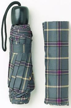 Mini Folding Umbrella – Grey/Purple Tartan