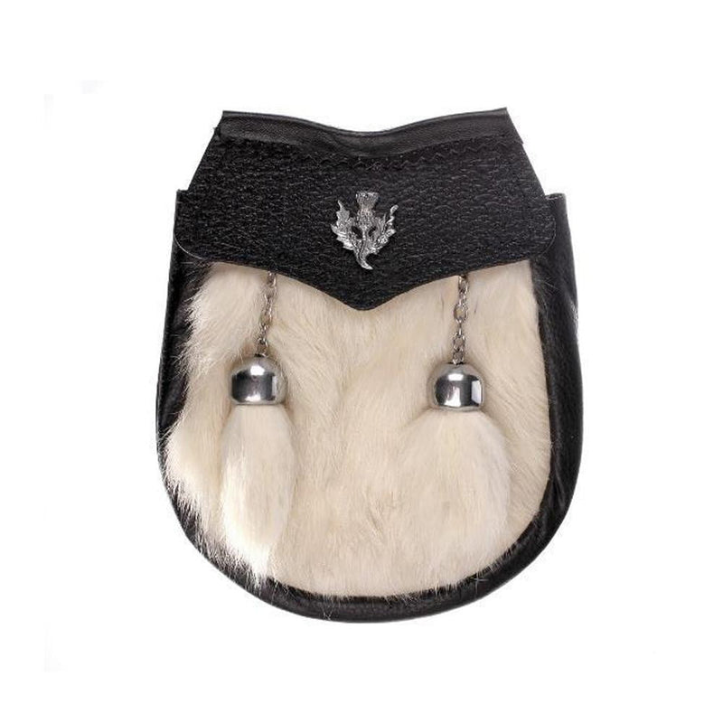 Kids Thistle Crest Rabbit Fur Sporran - 2 Colours