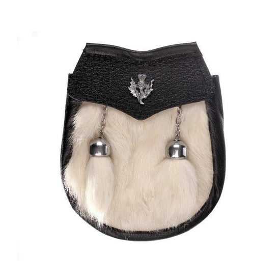 Kids Thistle Crest White Rabbit Fur Sporran