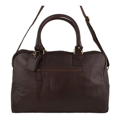 Arnicus Genuine Leather Travel Holdall with Adjustable Shoulder Strap in Brown