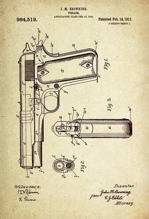 Gun (Firearm) Patent Poster Wall Decor (1911 by J.M Browning)