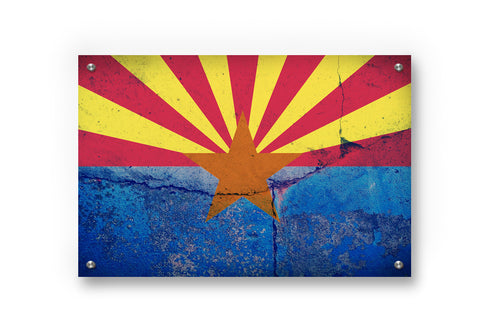 Arizona State  Flag Printed on Brushed Aluminum