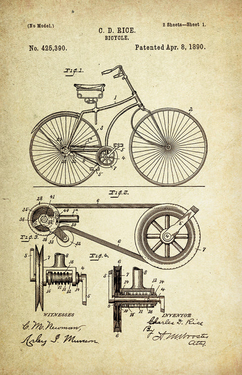 Bicycle Original Patent Poster (Patent # 425,390, dated April 8, 1890. Charles. D Rice) Engineer Art