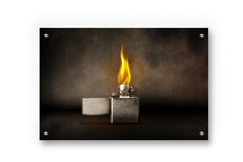 Smoky Lighter Metal Wall Art Decor printed on Brushed Aluminum