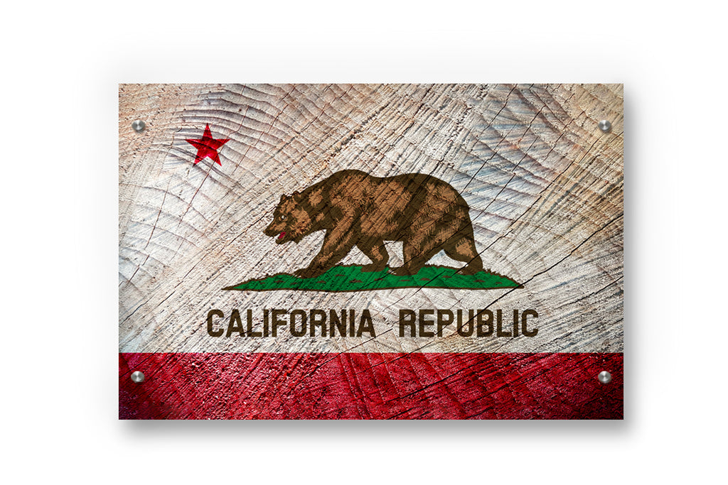 California State Flag Printed on Brushed Aluminum