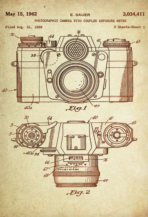 Photographic Camera with Coupled Exposure Meter, Patent Poster Wall Decor (1885 by E. Sauer)