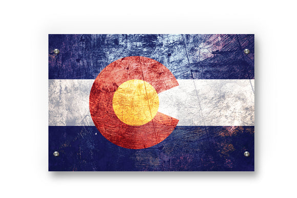 Colorado State Flag Printed on Brushed Aluminum