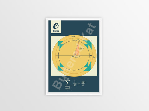 "Infinite Series: Euler's Number ""e"" Math Geometry Poster [Blue]"