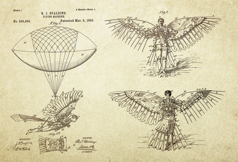Flying Machine Patent Poster Wall Decor (1889 by R.J Spalding)
