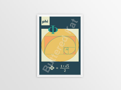 "Infinite Series: Golden Ratio ""Phi"" Math Geometry Poster [Blue]"