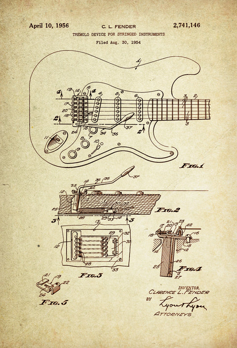 Electric Guitar/ Tremolo Device for Stringed instruments  Patent Poster wall decor (1956 by C.L Fender)