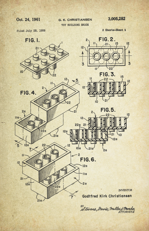 Lego Patent Graphic Art Poster (1958 by Godtfred Kirk Christiansen)