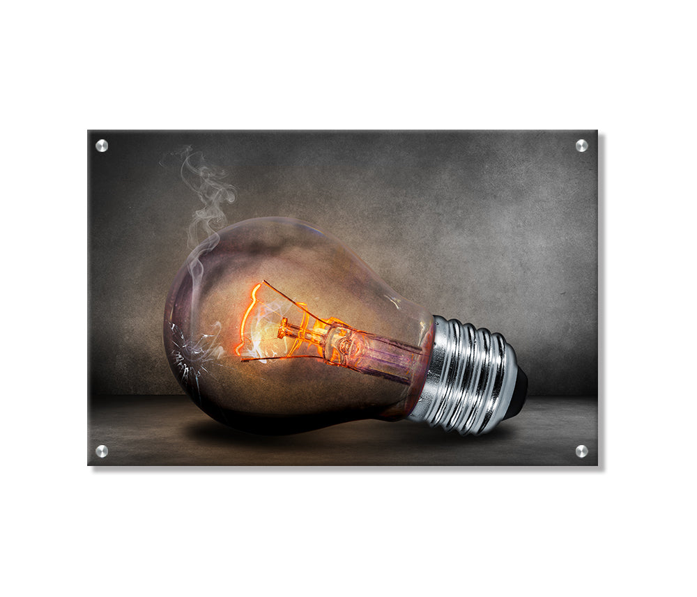 Smoky Bulb Metal Wall Art Decor printed on Brushed Aluminum