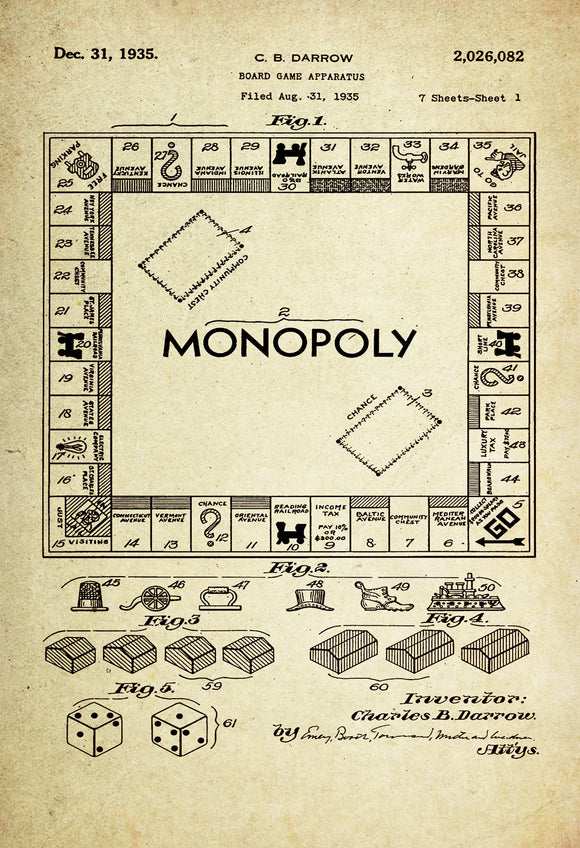 Monopoly Game Board Patent Poster Wall decor (1935 by C.B Brown ...