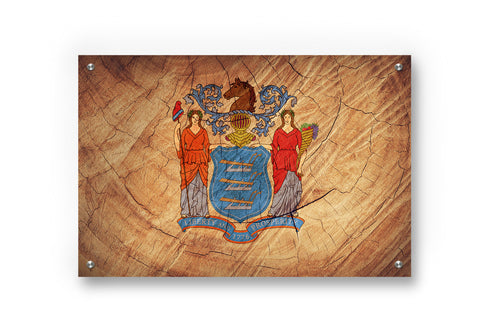 New Jersey State Flag Printed on Brushed Aluminum
