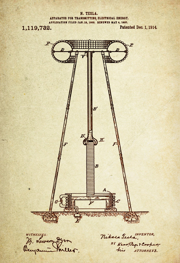 Apparatus for transmitting electrical energy Patent Poster wall decor (1914 by Nikola Tesla)