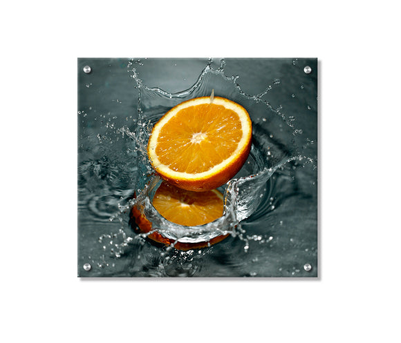Splashy Orange Metal Wall Art Decor printed on Brushed Aluminum