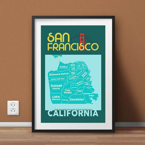 San Francisco Neighborhood Map Wall Art