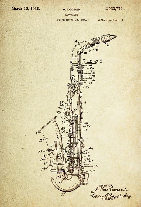 Saxophone Patent Poster Wall decor (1933 by A. Loomis)