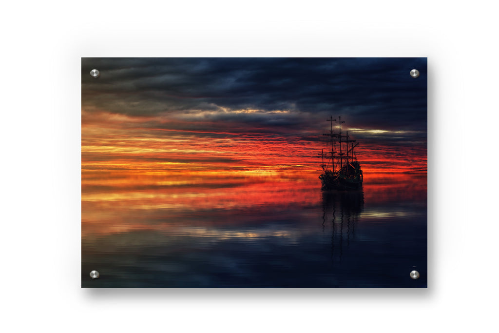 Ship at Sunset Metal Wall Art Decor printed on Brushed Aluminum