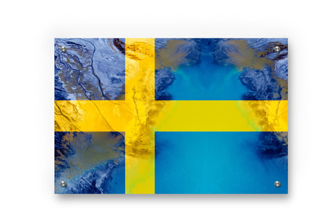 Sweden's  Flag Printed on Brushed Aluminum