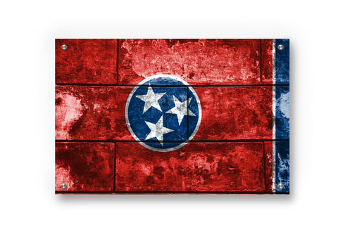 Tennessee State Flag Printed on Brushed Aluminum