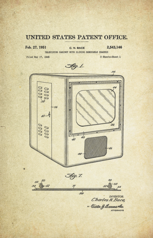 Television Patent Art Poster (1930 by Philo Taylor Farnsworth)