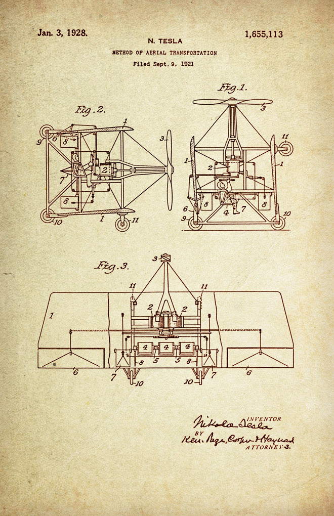 Method of Aerial transportation Patent Poster wall decor (1921 by Nikola Tesla)