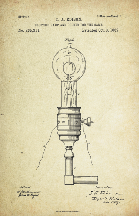 Electric Lamp Patent Poster (1882, Thomas Edison)