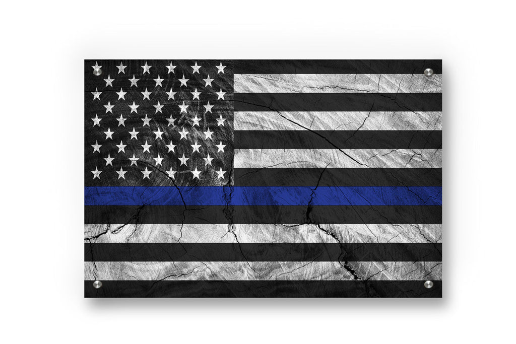 Thin Blue Line (Honor Law Enforcement) Printed on Brushed Aluminum