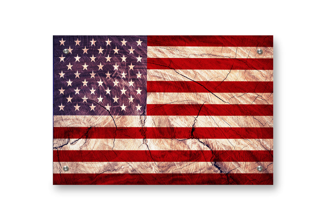 American Flag Printed on Brushed Aluminum